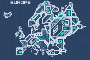 Abstract futuristic map of Europe. Mechanical circuit of the region. Technology space background.